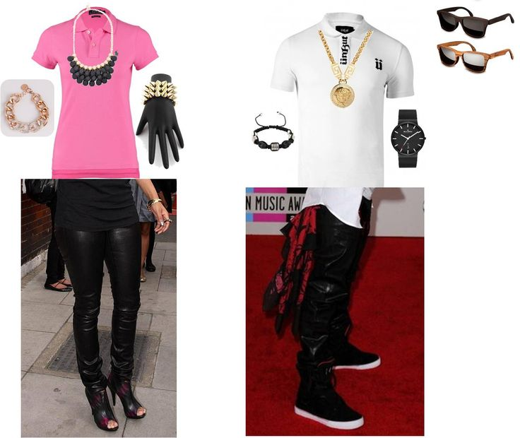 ... and a guy- §FOR THE LADY§ - Ladies' 'Upgrade Headlines' pink/gold polo  shirt - Black legging - Black and gold leather boots from Steve Madden -