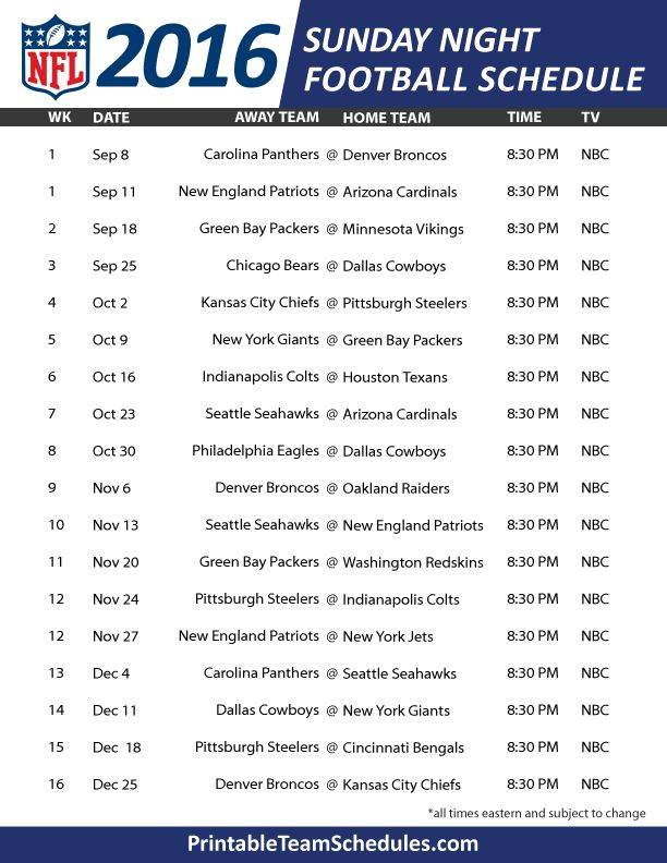 NFL Sunday Night Football Schedule 2016 Print Here - http://printableteamschedules.com/NFL/sundaynightfootball.php