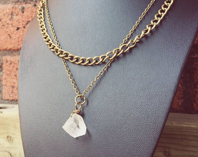 Quartz Necklace, Raw Quartz Necklace, Layered Necklace, Layered Jewelry, Festival Jewelry, Crystal Necklace, Crystal Jewelry