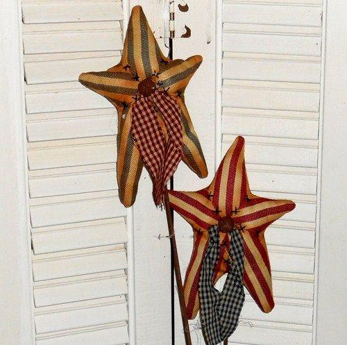 Americana Patriotic Ticking Fabric Stars - Pick Living