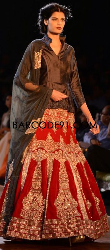 http://www.barcode91.com/designers/manish-malhotra.html  Manish Malhotra's heavy ethnic collection inspired bythe silhouettes of royality at  PCJ Delhi Couture Week 2013