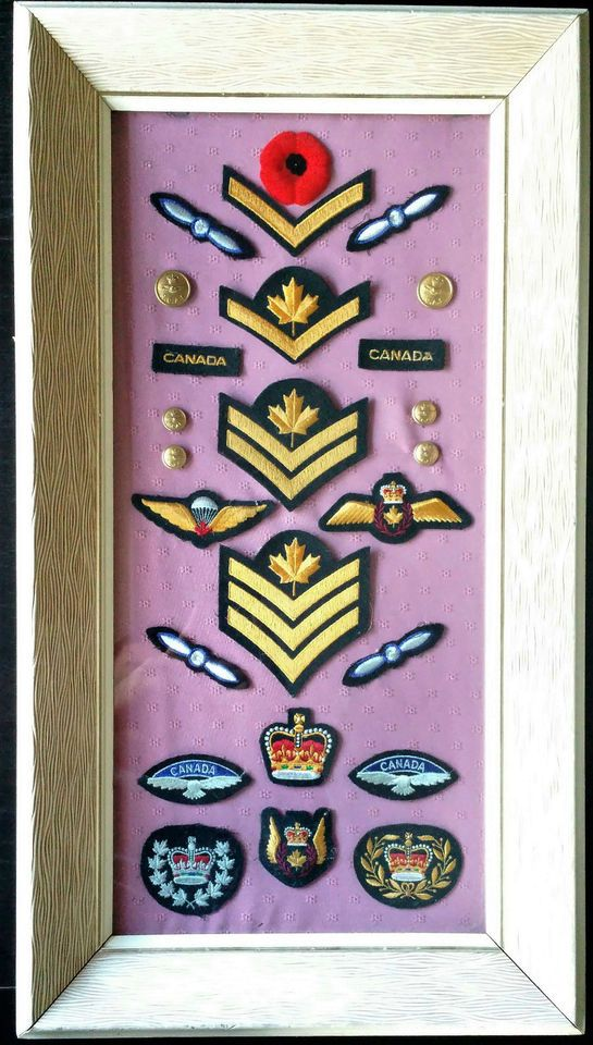 ROYAL CANADIAN AIR FORCE UNIFORM PATCHES AND BUTTONS IN A COLLECTOR'S FRAME
