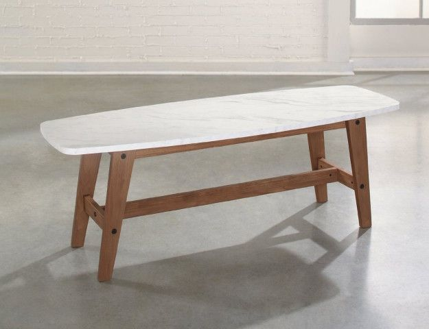 A walnut coffee table with a faux-marble top that's stain and scratch-resistant. | 27 Beautifully Designed Products You Won't Believe You Can Get On Amazon