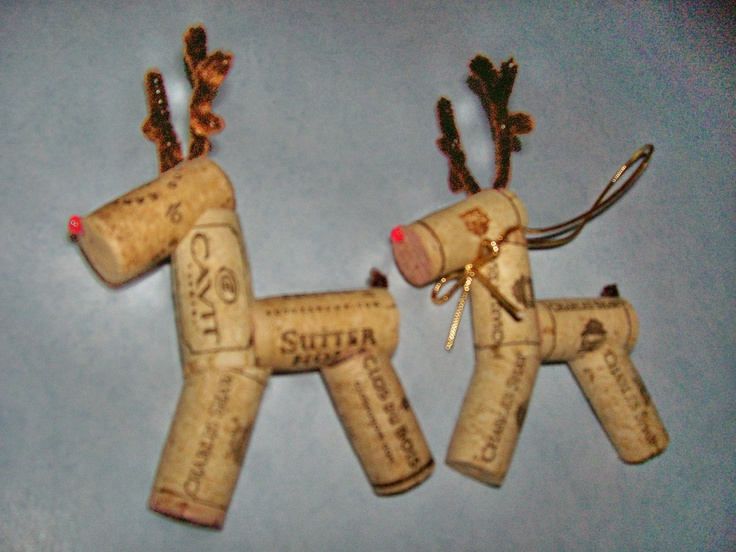 Reindeer ornaments made from wine corks