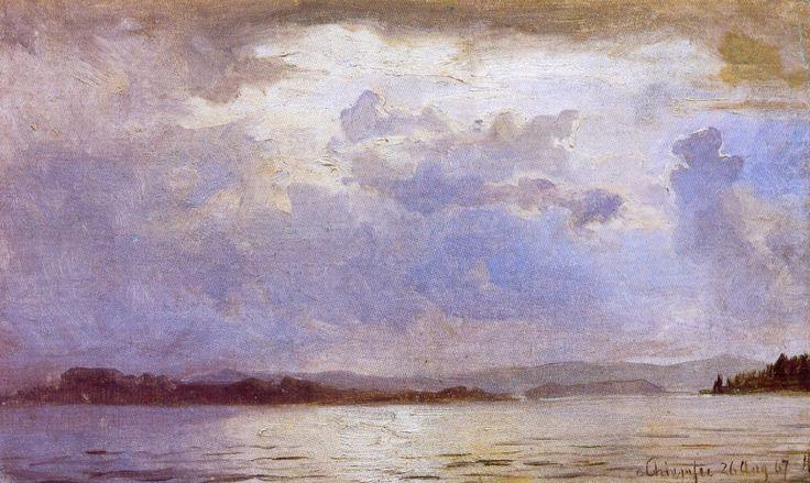 Hans Gude (Norwegian 1825–1903) [Norwegian romantic nationalism] Uværsluft Over Chiemsee, 1867. National Gallery of Norway, Oslo.