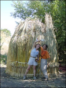 making a tule hut bet we could do this on a smaller scale with marsh reeds