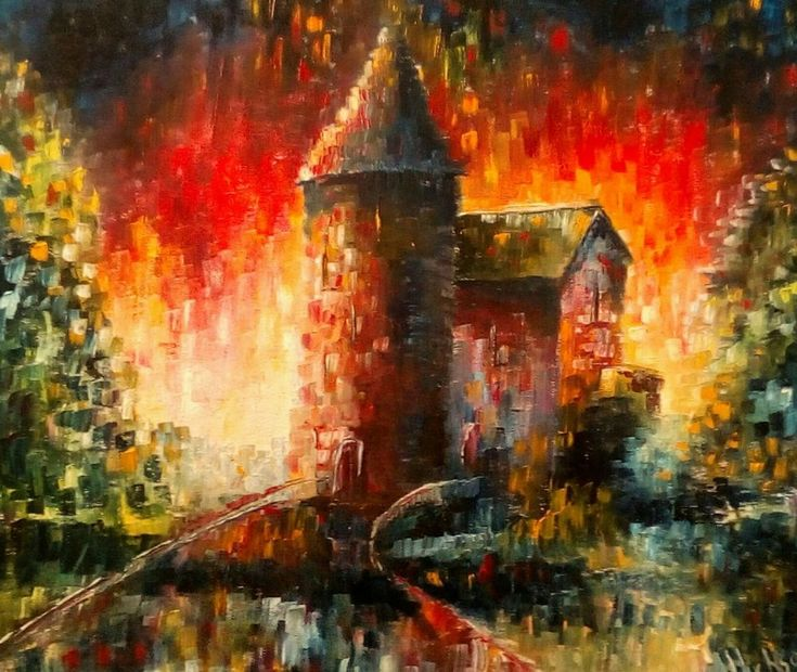 """'Castle Coch, Caerphilly, Wales' Original Oil Painting 24"""" x 20"""""""