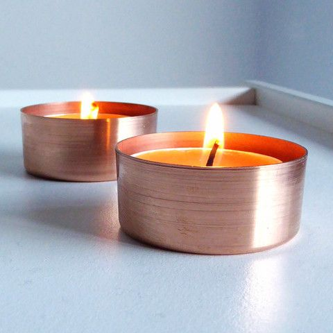 Copper Tea Lights  We thought these would look great with your other votive's Bindi?