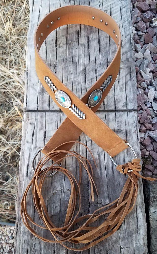 Cowgirl Bling CONCHO BELT FRINGE SLING silver Belt Gypsy Boho Southwest Brown #Unbranded #ConchoBelt