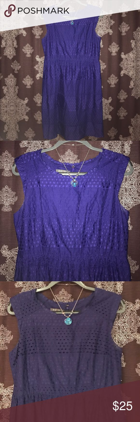Roz&Ali Eyelet Purple Scalloped Hem Dress Size 14 Beautiful purple Eyelet dress in perfect condition. Great for a nice party, graduation, or a special event/occasion. Size 14. Scalloped hem Detail. Lovely with a statement necklace and nude heels! 💜 Roz & Ali Dresses Midi