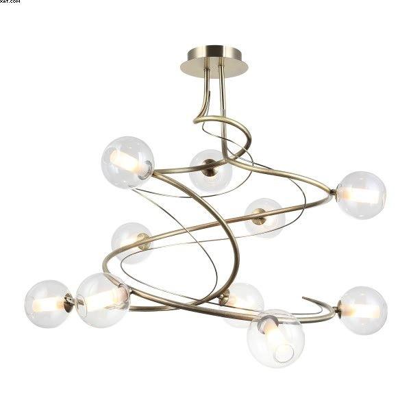 Ras de plafond HEVE dix lumières finition laiton avec doubles verres clairs