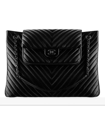 Calfskin chevron quilting Large tote - Spring-summer 2015 - CHANEL