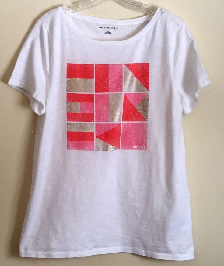 Tommy Hilfiger NEW Scoop Neck Top White Graphic Print Tee Coral Pink Gold Large  #TommyHilfiger #Blouse #Casual