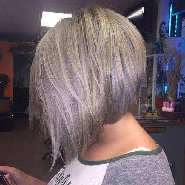 Trendy Gray Inverted Bob Haircut