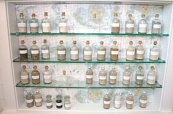 Collection bottles against a map themed wallpaper backdrop