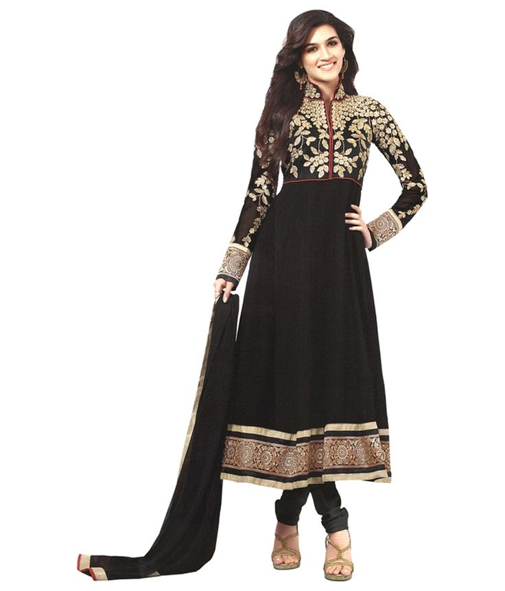 Black Georgette Semi Stitched Suit - http://www.zazva.com/shop/women/clothing-and-accessories/women-clothing/women-ethnic-wear/women-salwar-kameez/black-georgette-semi-stitched-suit/ Upgrade your fashion quotient by wearing this semi stitched salwar suits. This unstitched anarkali salwar is a perfect pick for the festive occasions. You can celebrate your feminine elegance at its best in this salwar suit. Wear this salwar suit with silver jewellery and heels for looking gorge