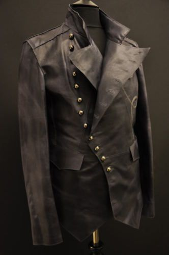 LEATHER STEAMPUNK ROCK MILITARY MENS JACKET UNIQUE NEW