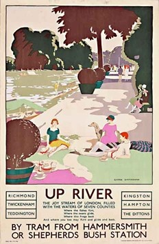 Up River by Tram from Hammersmith or Shepherds Bush station by (George Sheringham, 1926).