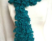 Turquoise Ruffle Scarf Mother's Day gift Valentine's Day gift Gift For Her Scarf Under 15 Woman Accessories Gift For Mother