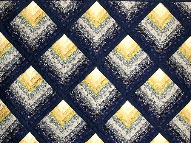 Navy and Yellow Chevron Log Cabin Quilt Photo 3