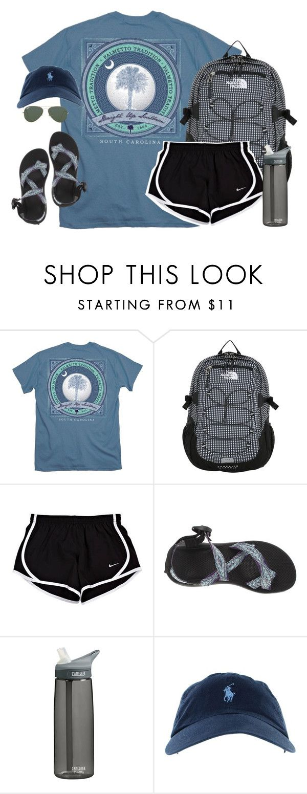 by kaley-ii ❤ liked on Polyvore featuring The North Face, Chaco, CamelBak, Ray-Ban, women's clothing, women, female, woman, misses and juniors
