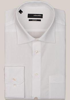 SPLENDESTO Hemd Langarm mit Basic Kent Kragen aus weißem Fil a Fil
