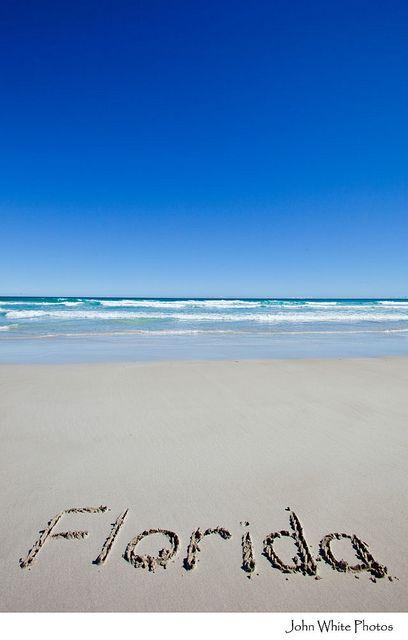 Florida written on beach
