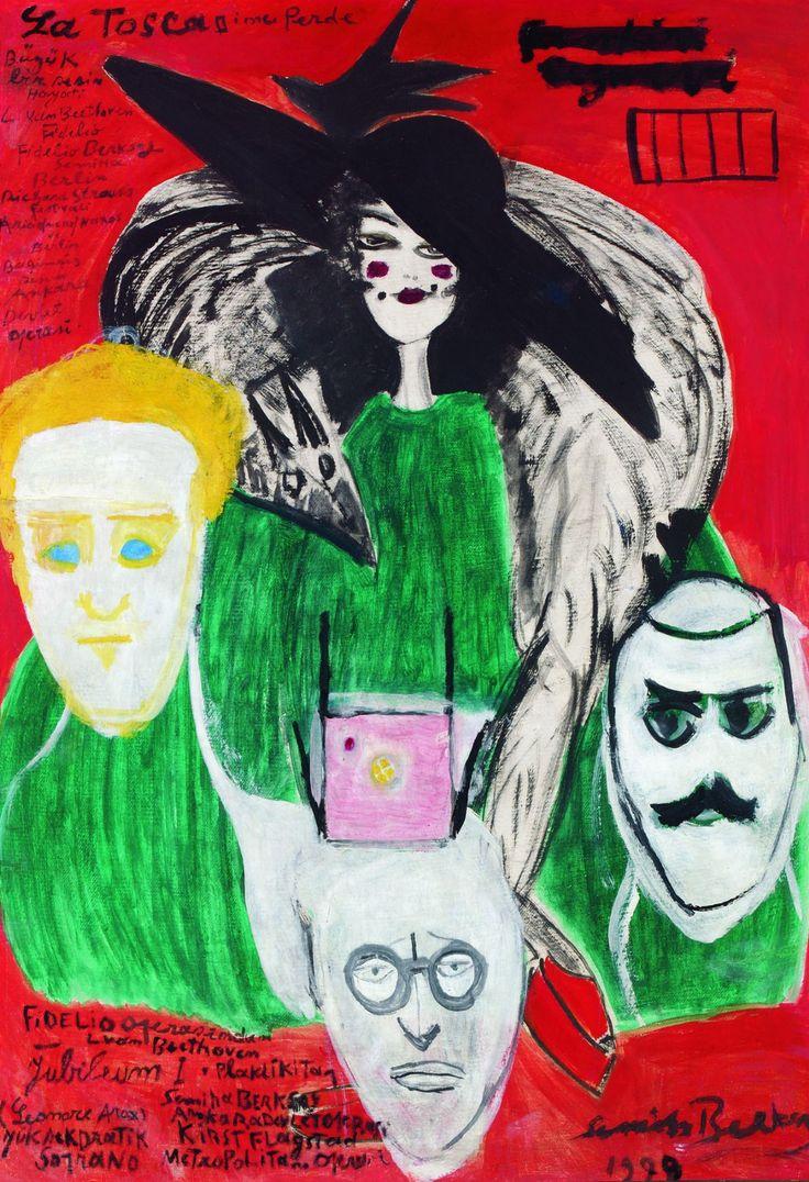 Semiha Berksoy, (1910-2004)Hapishanede Ziyafet, 1999 Duralit üzerine yapıştırılmış karton üzerine yağlıboya 99 x 69 cm. Dr. Nejat Eczacıbaşı Vakfı Koleksiyonu / Uzun Süreli Ödünç