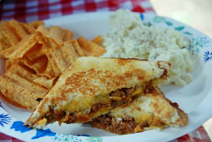 Pie Iron Sloppy Joe Cheese Sandwich