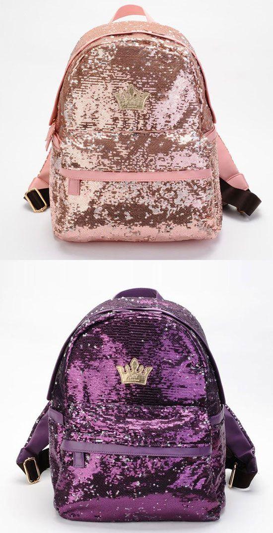 Cool Shine Crown Sequins Backpack for big sale! #backpack #flower #school #college #bag #nice #rucksack #hollow #travel #crown #sequin