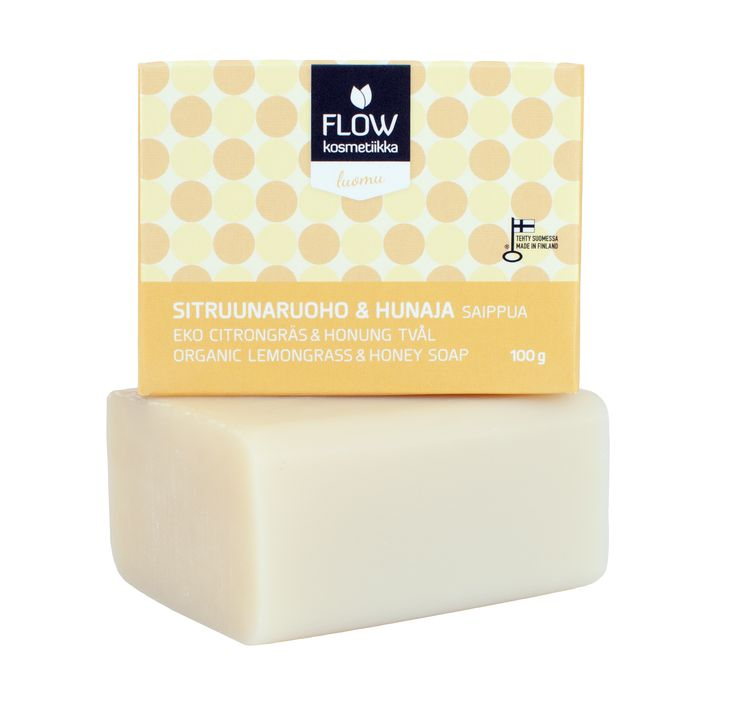 Flow Cosmetics - Lemongrass & Honey soap. Cleansing and moisturizing. Easy to take with you on a trip.