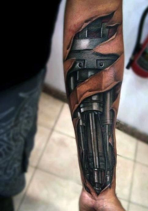 Mechanical Arm Tattoos For Men From: TattoosWin.com/