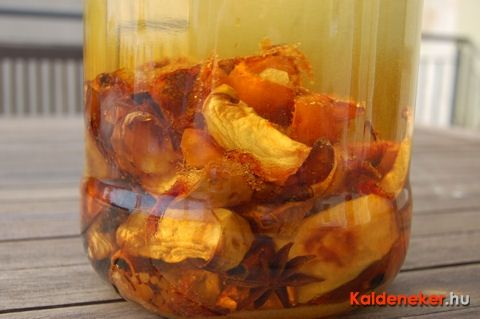 Baked Apple Liquor  4-5  tart apples, core and cut into wedges.Place on baking sheet and sprinkle with 2 tbsp of brown sugar. Add 4-5 whole cinnamon sticks, 5-6 star anise and bake in the oven for 20 min. at about 350F.Place all ingredients in a large mason jar, and cover with at least 1 liter of vodka or apple snaps. Shake jar once daily while letting mix steep for 2 weeks.  Strain liquor through sieve and fill into clean bottles.