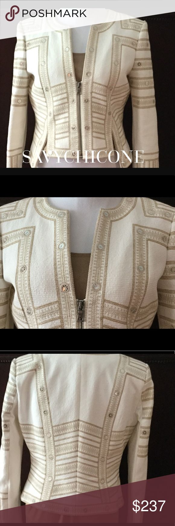 🌺GORGEOUS BCBG JACKET🌺 This jacket has beautiful details of embroidered mirrored disks.  Made to enhance your curves.  Unique cutout hem.  It is stunning!  Only worn once. BCBGMaxAzria Jackets & Coats