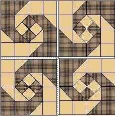 traditional layout of the monkey wrench or snail's trail quilt block