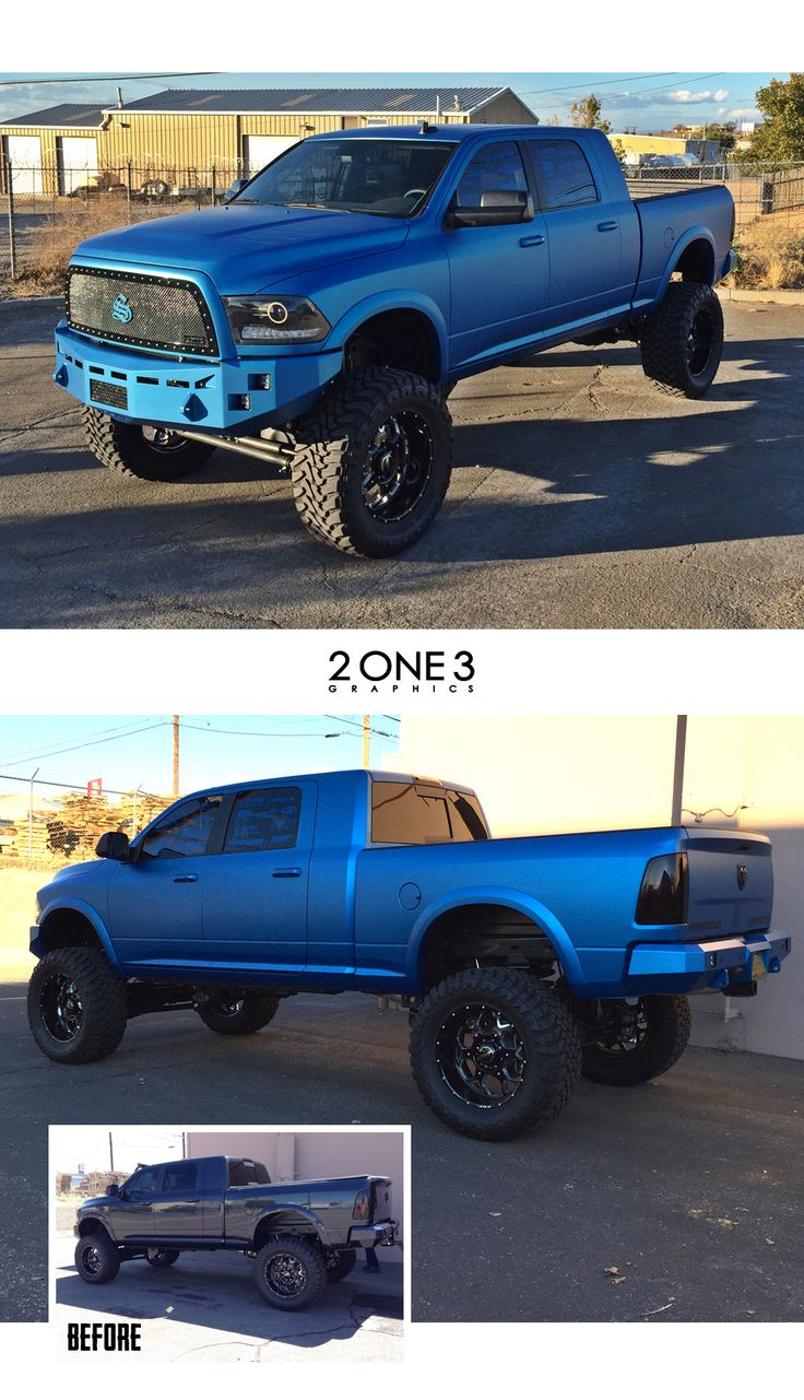 One hell of a wrap and build for SEMA on this Dodge Ram by 2one3 Graphics using 3M 1080 Matte Blue Metallic vinyl.