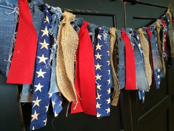 Patriotic Fringe Rag Tie Garland Bunting Banner by TheFrozenApple, $34.00