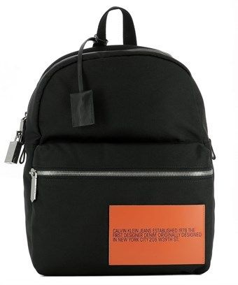 Calvin Klein Men's Black Fabric Backpack.