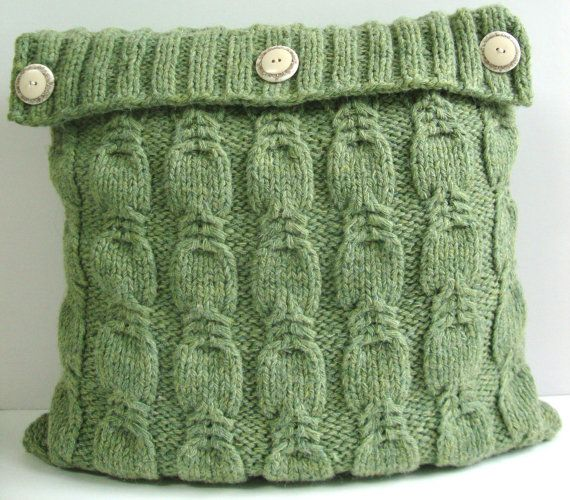 Hand Knitted Pillow green color. Exclusive design by DubrasenHome