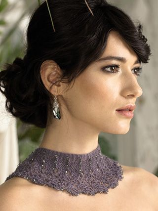 FRILLY COLLAR from ROWAN Swarovski Evening (ZB188).The Evening Collection showcases eleven elegant designs which are the essence of glamour | English Yarns
