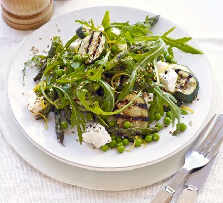 Asparagus & courgette salad with feta & sesame seeds. Griddling vegetables gives them a deeper flavour, which matches the toasted seeds and salty cheese perfectly