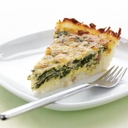 Potato-Crusted Spinach Quiche recipe. Quiche crust is usually made from butter and flour. This version is made with shredded potatoes, which cuts fat and calories, and ups the Resistant Starch factor.