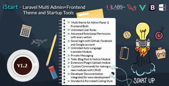 iStart - Laravel Multi Admin+Frontend Theme and Startup Tools | PSD