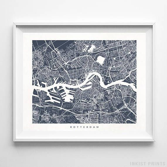 Rotterdam, Netherlands Street Map Wall Art Poster - 70 Color Options - Prices from $9.95 - Click Photo for Details - #streetmap #map #homedecor #wallart #Rotterdam #Netherlands