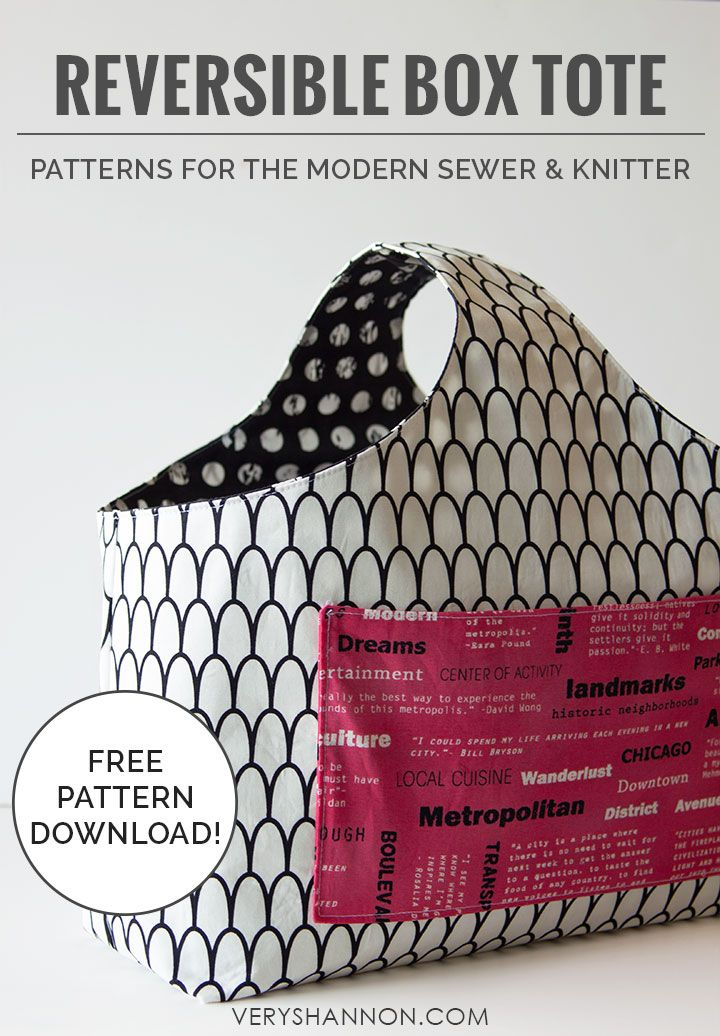 Sew the Beginner's Reversible Box Tote – Free ePattern from Very Shannon