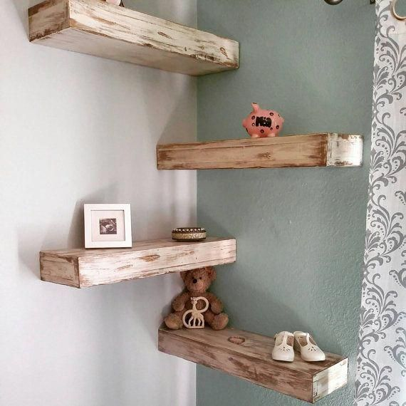 White Rustic Shabby Chic Floating Shelf 24 Inch Shabbychicideas With Images Reclaimed Wood Floating Shelves Wood Floating Shelves Wood Corner Shelves