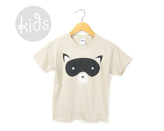 Geo Raccoon  Hand Stenciled Crew Neck Cotton by twostringjane, $26.00