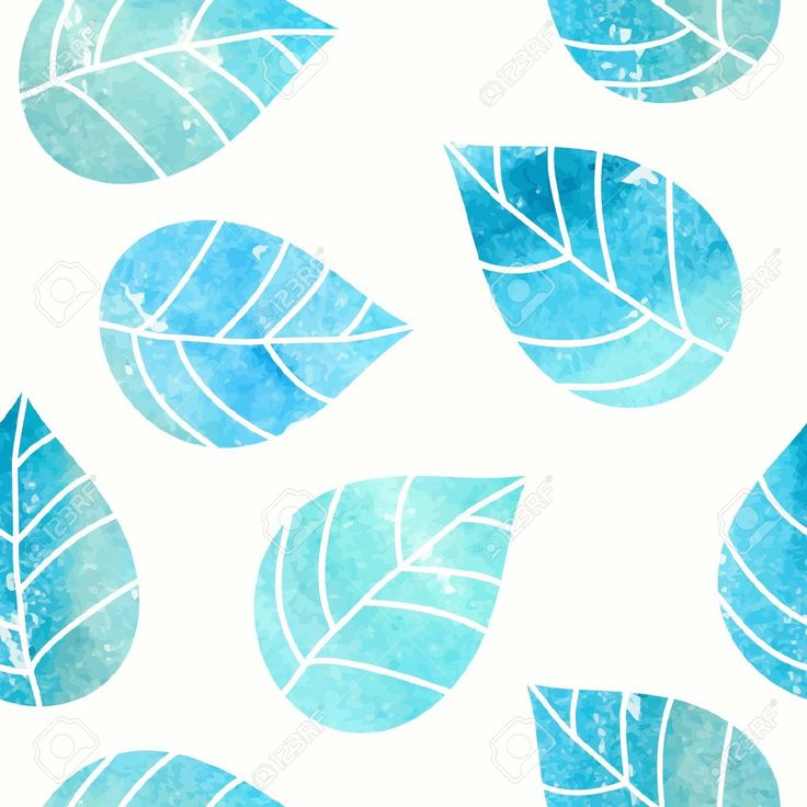 Seamless Leaves Pattern Watercolor Background Royalty Free ...