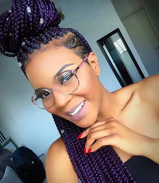 Purple Box Braids with a Shaved Side