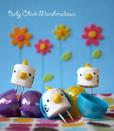 Marshmallow Easter Chick Treats  -could be a bird for angry bird bday party   – Selbermachen
